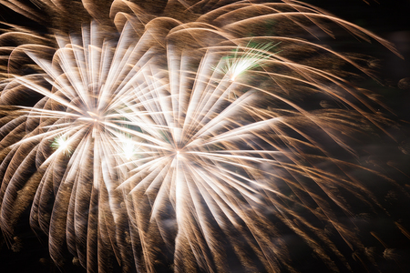 Outbreaks of fireworks in the night sky Stock Photo