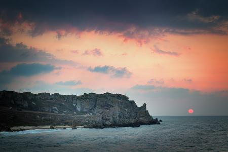 Seascape. Seashore at sunset