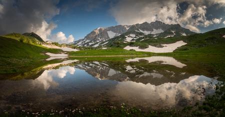 Lake Psenodakh among the high mountains. Lago-Naki. Russia