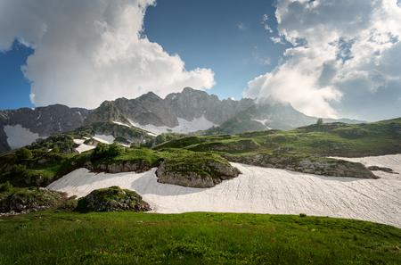 Caucasian mountains with glaciers and green glades. Lago-Naki. Russia 版權商用圖片