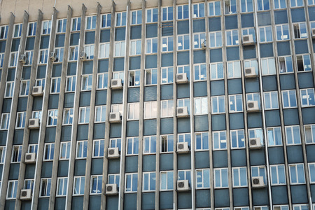 Facade of a multistory building with windows