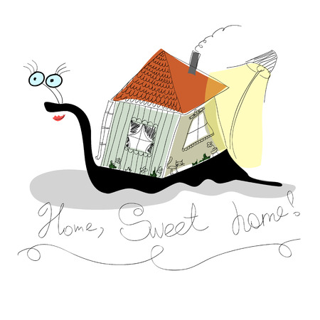 jokes: Comic sketches snail with a house Illustration