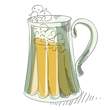 brewed: Mug light foamy beer on a white background Illustration