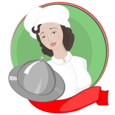Cocinero de la muchacha sirve en el fondo del círculo verde y una cinta roja