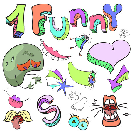 Set of funny crazy characters , signs, aliens , imaginary , cartoon, bright  イラスト・ベクター素材