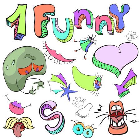 エイリアン、虚数、漫画、明るい面白い狂気の文字、記号のセット