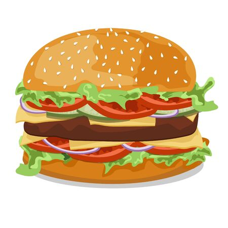 sesame seeds: Hamburger with tomato, onions, cucumbers , lettuce , meat patties with melted cheese and sesame seeds on a white background