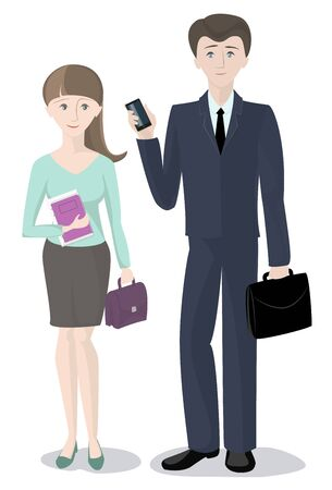 Man and woman standing with documents , office staff