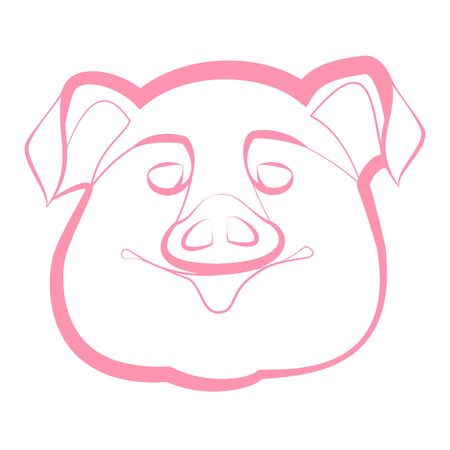 snout: smiling pig snout on a white background