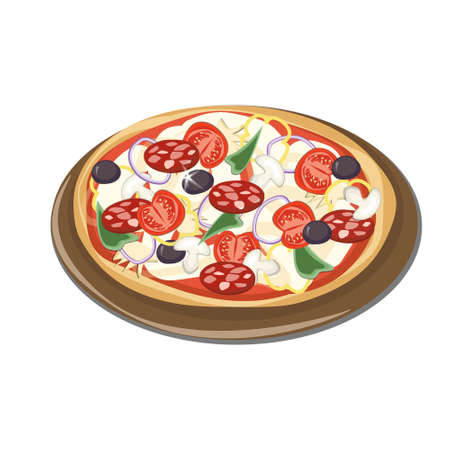 onions: Italian pizza on a tray, sausage, tomatoes, mushrooms, onions, peppers, olives, white background