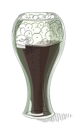 brewed: A pint of dark beer foam on a white background , illustration Illustration