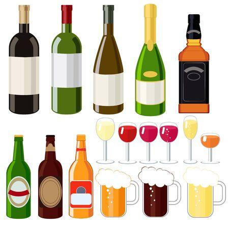champagne glasses: Alcohol set , wine, beer , whiskey , beer mugs , shot glasses, champagne