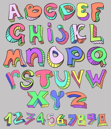 english letters: English alphabet , funny letters on a gray background Illustration