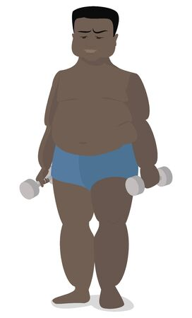 American , African fat man holding a dumbbell in hands Illustration