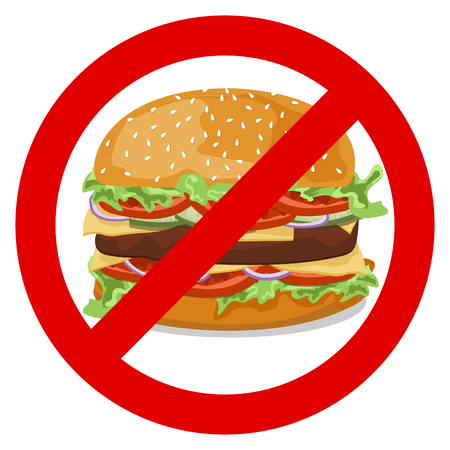 patties: The sign forbidding a hamburger with tomatoes , onions, cucumbers , lettuce , meat patties with melted cheese and sesame seeds on a white background