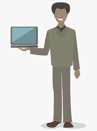 man with laptop: African American man holding a laptop Illustration