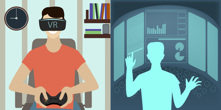 Oculus VR, virtual reality glasses to a man , the virtual game Illustration