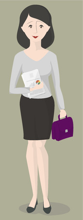 economist: Woman office worker standing with documents and briefcase