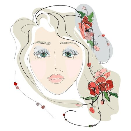 sketch of the face of a young girl with flowers