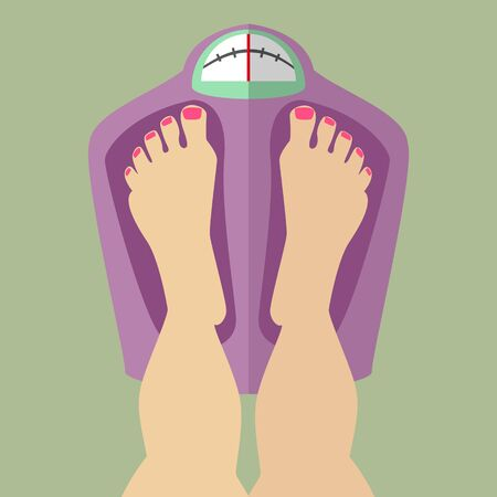 Female egs are in the balance, weigh , weight checks Caucasian Illustration