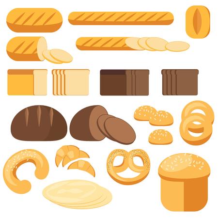 pita bread: Set bread, baguette, loaf, cake, grocery, bakery Illustration