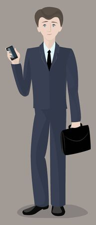 office worker: Man , businessman , office worker , standing with phone and briefcase