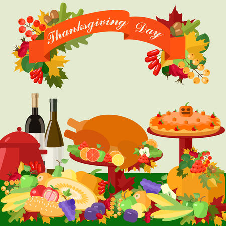 Thanksgiving card with congratulations on the background of the festive table Vector Illustration