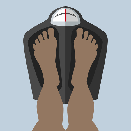 Foot stand on the scales , weighed , checks the weight African , American