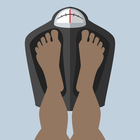 Voetje op de weegschaal gewogen, controleert het gewicht Afrikaans, Amerikaans Stock Illustratie