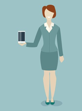 caucasian woman: Caucasian woman demonstrates a new phone, tablet, product