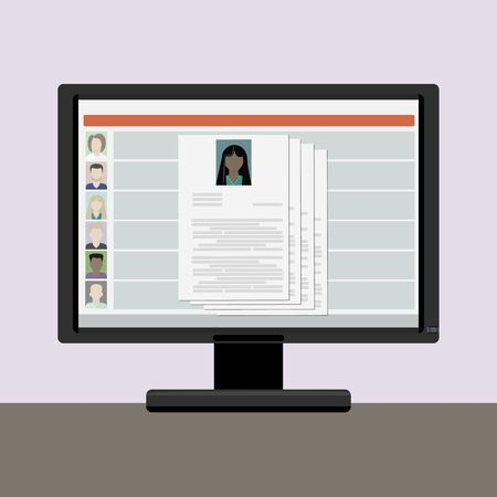 View resume on a computer monitor , the choice on the internet employee, women, african, american