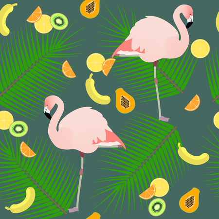 ion: Seamless texture , flamingos ion a pink background  and fruits , vector