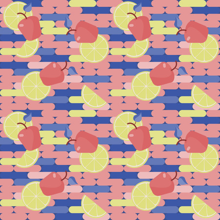 blu: seamless texture , red apple and lemon slices on a colored background