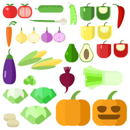 set of vegetables , different vegetables on a white background