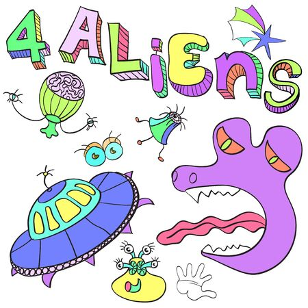 Aliens , a set of amusing pictures of alien organisms  イラスト・ベクター素材