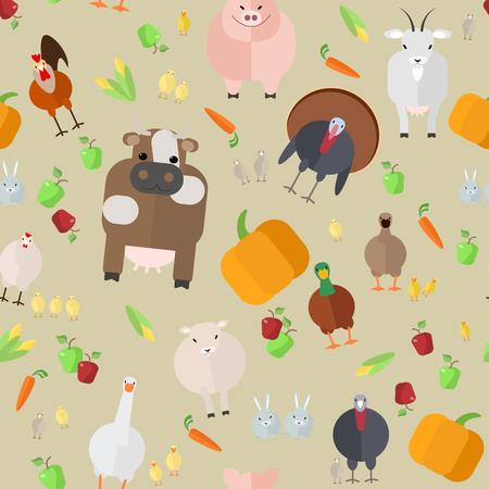 seamless texture , farm animals , vegetables , vector