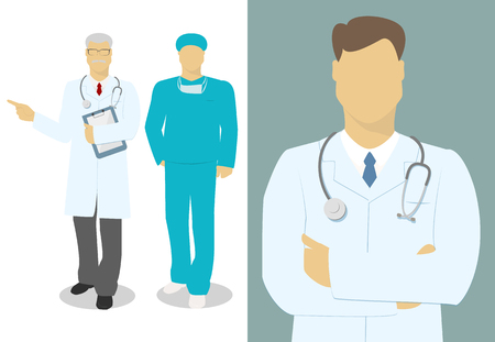 Male doctor, the doctor set of characters , vector Illustration