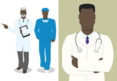 Set of characters doctor , male doctor, vector