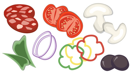 peppers: Set pizza products , sausage , tomatoes , mushrooms , onions, peppers , olives , white background