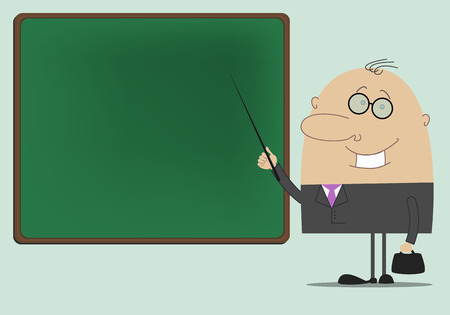 hold high: Man teacher standing at the blackboard with a pointer in his hand Illustration