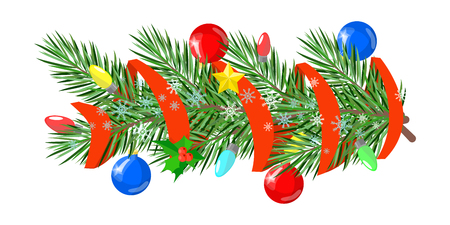 Christmas ornaments, decorated with branches of fir balls, stars , ribbons Illustration