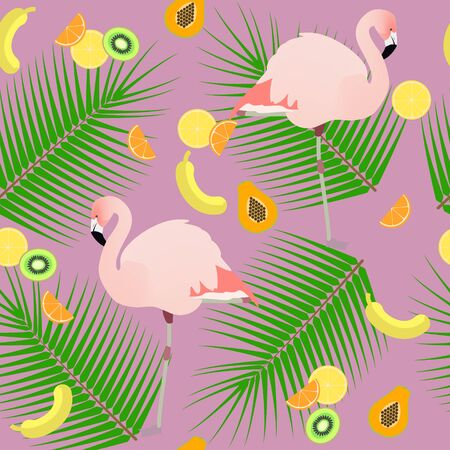 mango slice: Seamless texture , flamingos ion a pink background  and fruits , vector