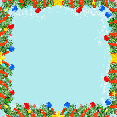 spot lit: Christmas seamless texture , decorated with branches , vector