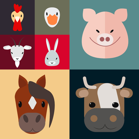 barnyard: Set of farm animals , barnyard , farm, vector Illustration