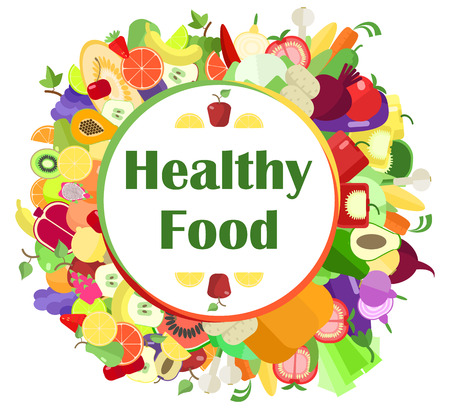freshest: Healthy food , fruits and vegetables , laybel vector