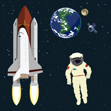 Astronaut floating in space , earth , moon, satellite, space shuttle. Space. Vector illustration.