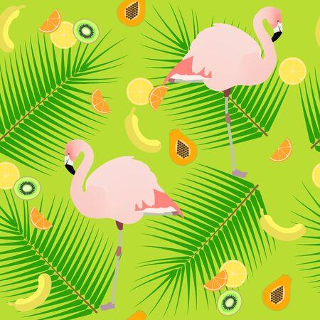 mango slice: Seamless texture , flamingos on a green background Illustration