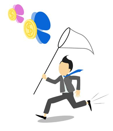business metaphor: Businessman trying to catch money. Business metaphor