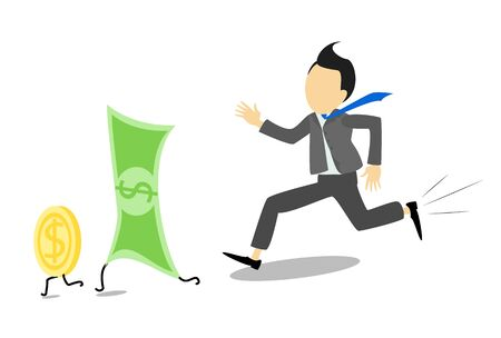 Businessman running for banknotes or bills, the US dollar