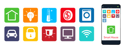 temperature controller: Smart House , a set of web icons . The house , climate , security , protection , money , enegriya , appliances Illustration